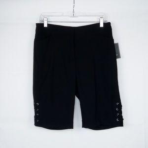 89th & Madison Dress Shorts Laces Accent Black